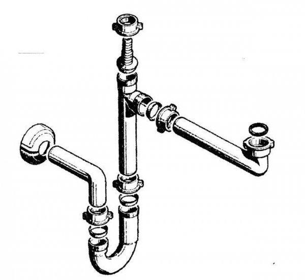 Pyramis Raumsparsiphon für Spülen mit einem Becken