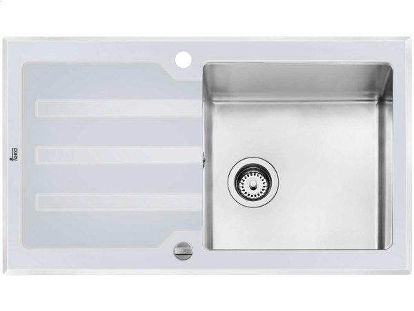 Teka LUX 1B 1D 86 Edelstahl / Glas weiß