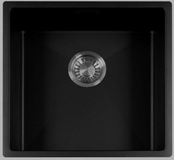 SHIGO Black-Sky 40x40 Edelstahl Spülbecken Küchenspüle Spüle schwarz beschichtet